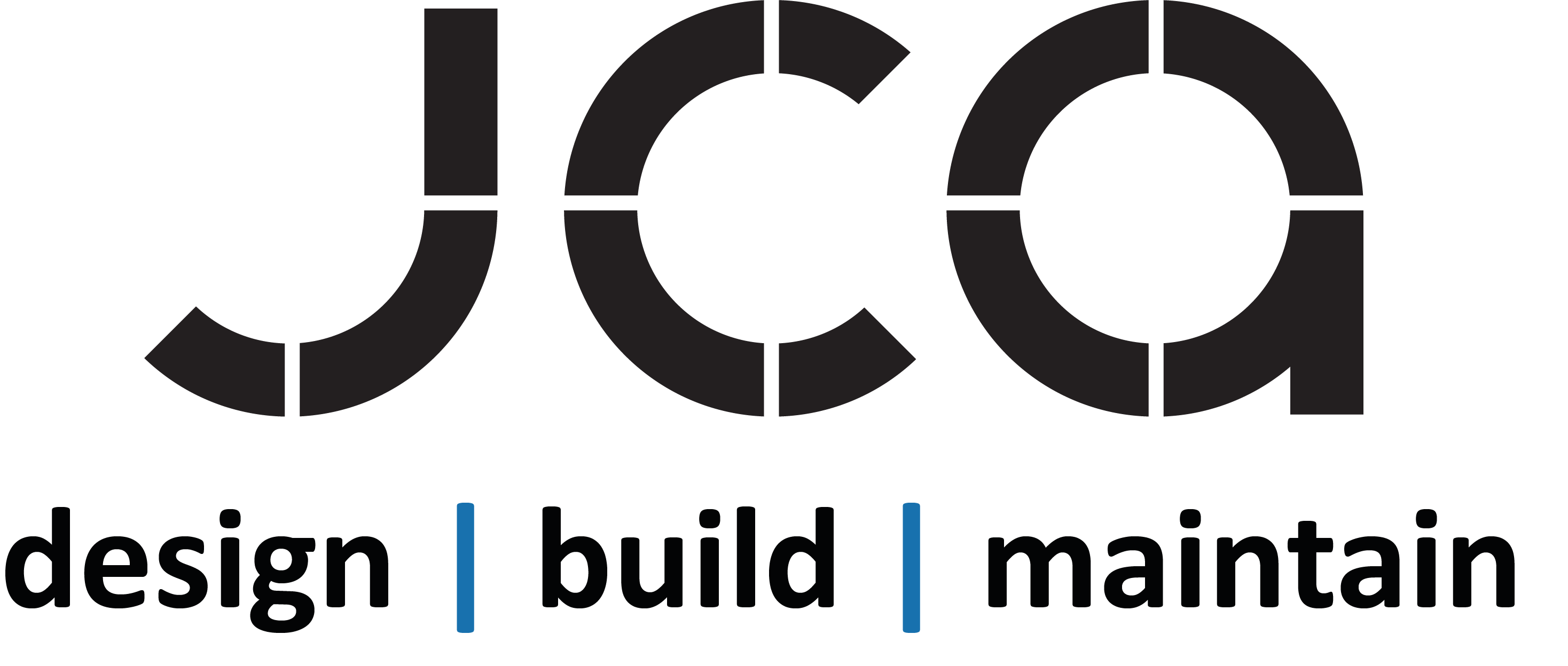 JCA Centred Black logo design build maintain and services - Transparent background PNG
